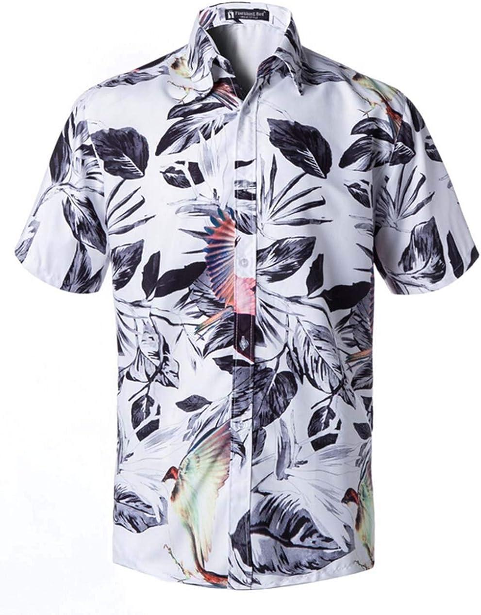 Guyay Mens Flower Shirt Short Sleeve Hawaiian Casual Button Down Beach Shirt