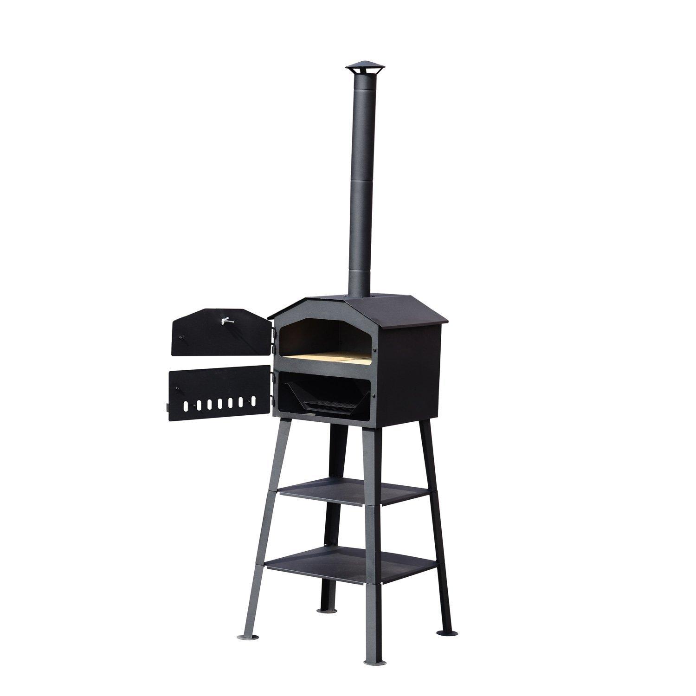 Outsunny® Hochwertiger Gartenkamingrill Pizzaofen Kohleofen BBQ mit Thermometer