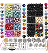 EuTengHao 1146Pcs Lava Beads Round Loose Marble Beads Ink Patterns Chakra Beads with Spacer Beads...