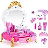 HJXDJP- 子供のままごと遊びをするドレッサーおもちゃ 小さい化粧台 女の子メイクゲームセット鏡台、ヘアクリップ、櫛、ヘアドライヤー、鏡やその他の付属品を含みます(L*W*H =25 X22 X34 cm)