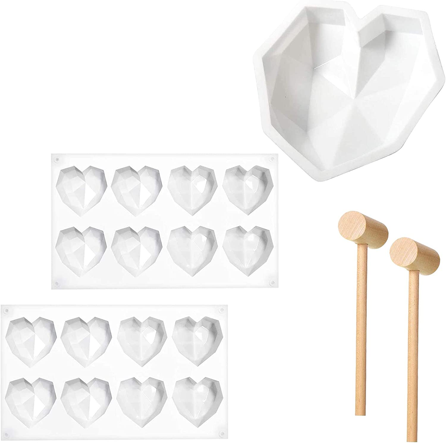Diamond heart molds for chocolate with wood hammer Silicone Heart Mousse Cake mold breakable heart mold for chocolate 2 Pieces 8 Cavities Heart Diamond Shaped Cake Mold Tray 2 Pieces Wooden Hammer