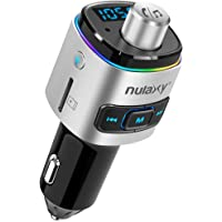 Nulaxy Bluetooth FM Transmitter for Car, 7 Color LED Backlit W QC3.0 Fast Car Charger Support Siri Google Assistant, USB…