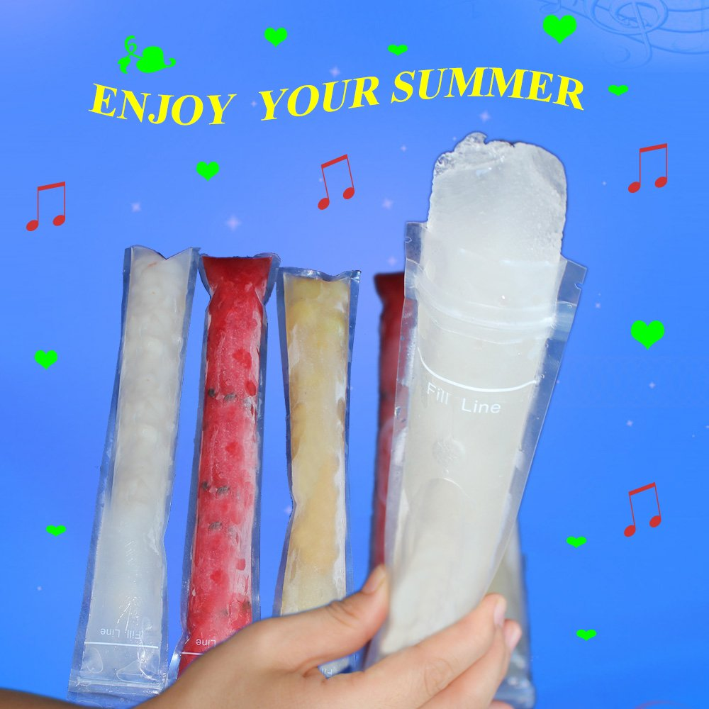 Ice Candy Otter Pops or Freeze Pops With a Funnel Benail 150 Pack DIY Ice Pop 2 x 8.18 Disposable Popsicle Molds Bags Disposable DIY Ice Pop Mold Bags for Gogurt
