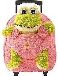 Kreative Kids Plush Rolling Backpack Pink Frog, Pink