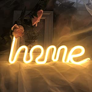 Warm White Home Neon Sign for Wall Sign Decor Battery USB Cable Night Light Kids Girls Room Lamps Wall Light Home Lighting Christmas Decorative Home Neon Sign Wall Light for Bedroom Party Decor