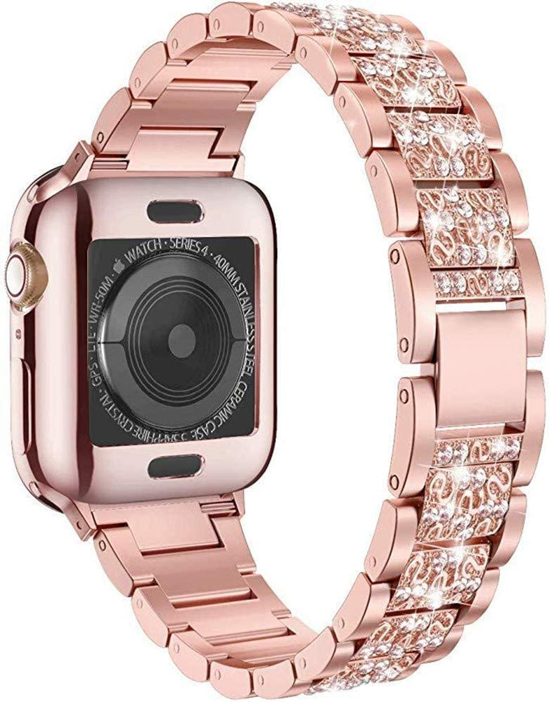 WanHua Compatible with Apple Watch Band 42mm 44mm 38mm 40mm SE Series 6 Series 5 4 3 2 1,Diamond Bling Crystal Metal Replacement Strap for iWatch (42mm/44mm, Rose Pink)