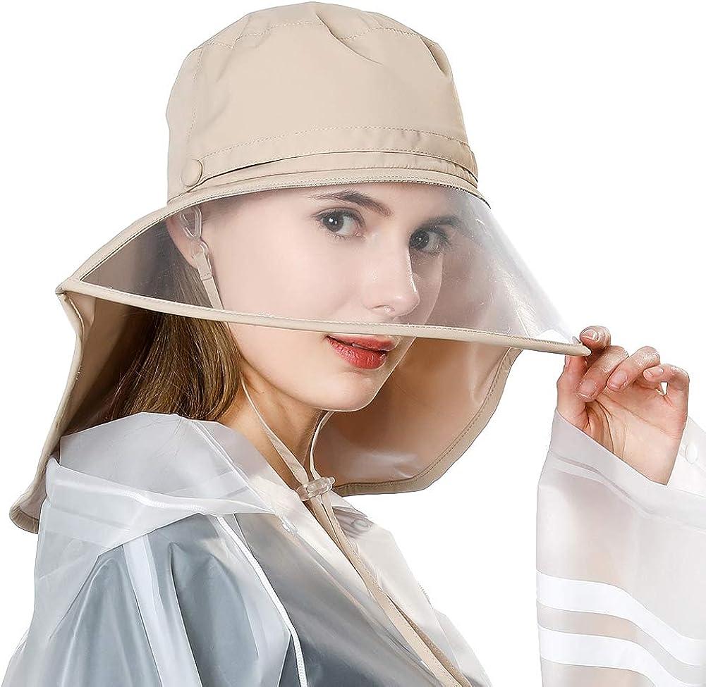 Jeff & Aimy Rain Hat Waterproof Women Wide Brim Bucket Rain Hats for Men w/Windproof Chin Strap Elastic Fit Khaki: Clothing