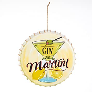 Amazon.com: Gin Martini Bottle Cap Shaped Metal Wall Art- 9.75 ...