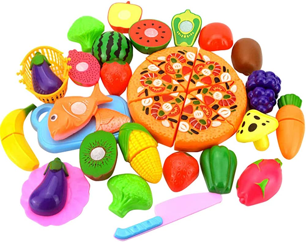 Kanzd Kids Pretend Role Play Kitchen Fruit Vegetable Food Toy Cutting Set Gift