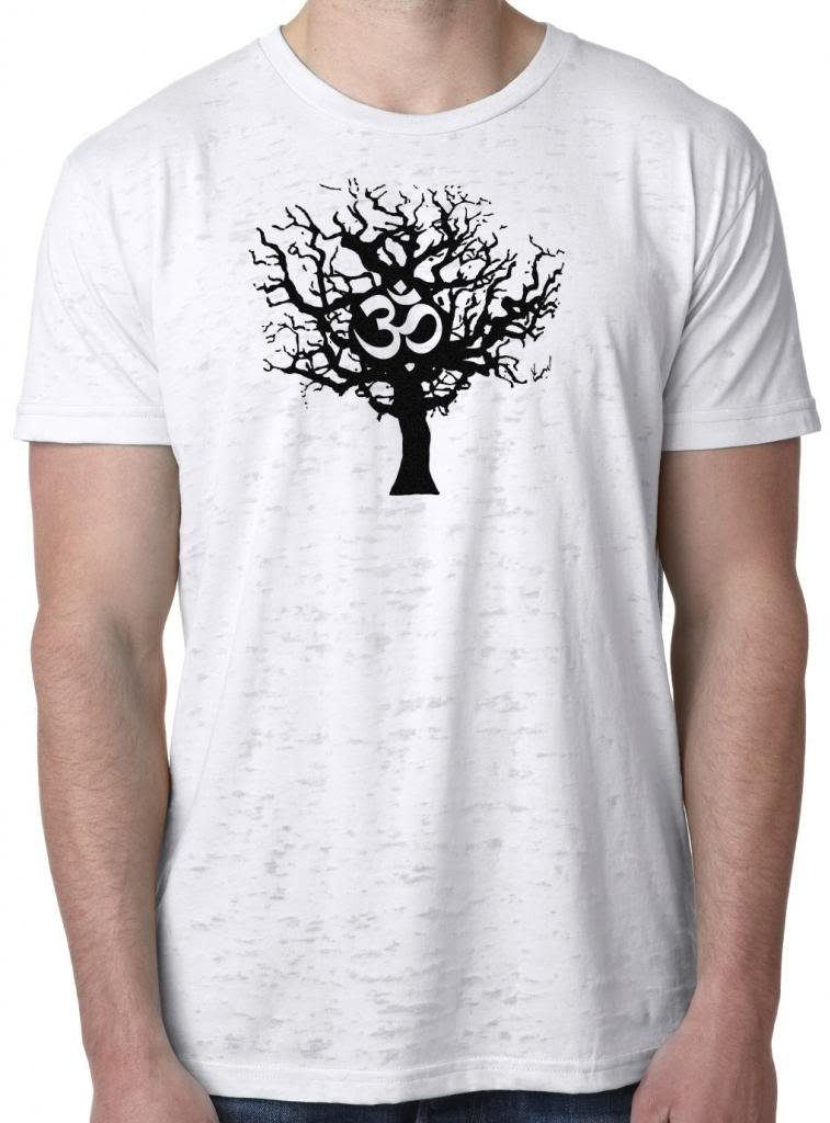 Yoga Clothing For You Mens Tree of Life Lightweight Burnout Tee Shirt BLACKTREE-3650