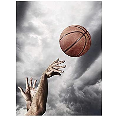 NA Jigsaw Puzzle for Adults 1000 Pieces - Man Throwing Basketball Into The Air - DIY Wooden Set Ideal Gift,Perfect Home Decoration 75X50Cm: Toys & Games