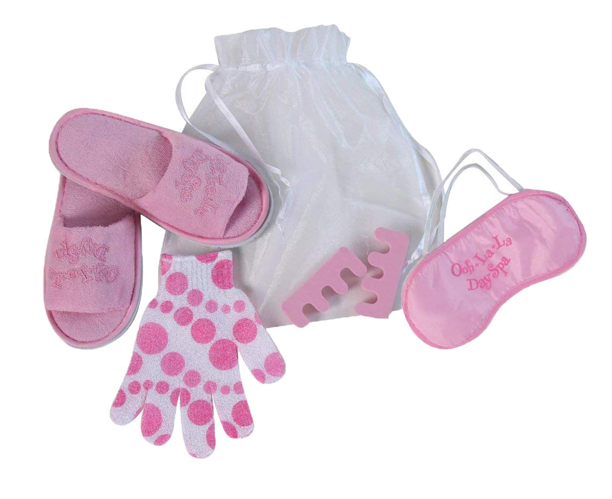 Making Believe Girls Day Spa Party Favor Kit (One Pair Medium Slippers, Organza Drawstring Bag, Bath Mitt Glove, Eye Mask and Toe Separators)