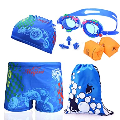 86ada0b12f Monvecle Little Boys' 6-Pieces Rash Guard Swimsuit Short Beach Boxers Set  with Swim