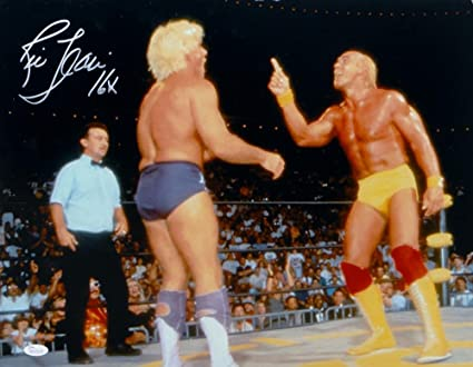 JSA Certified Autographed Wrestling Photos Witnessed Auth Ric Flair Autographed 16x20 Black and Blue Robe Photo