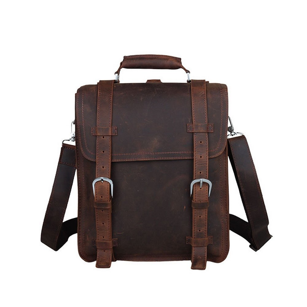 BAIGIO Leather Retro Travel Backpack Briefcase Shoulder Tote Bag (Brown) by BAIGIO
