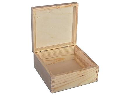 MADERA LISA - CAJA BARATIJA DE MADERA DE REGALO madera barnizada - DECOUPAGE GRANDE P16