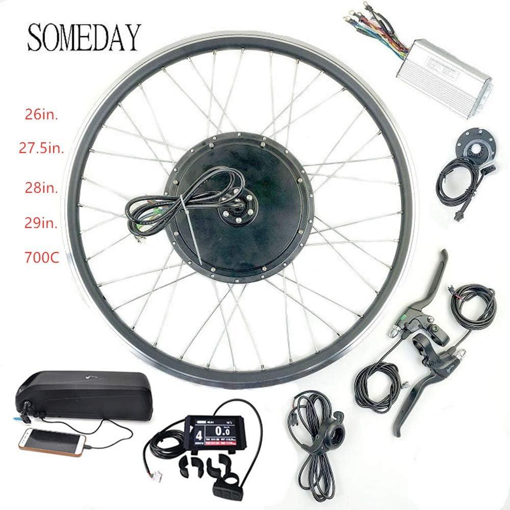 SOMEDAY 48V 1000W 17.5AH / 21AH Kit de conversión de Bicicleta eléctrica BLCD Motor de Cubo de Rueda de Cassette Trasero con Pantalla LCD con batería(Múltiples tamaños de Rueda)