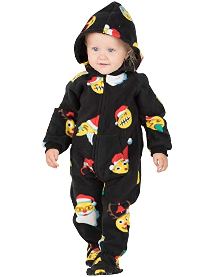 1558569b6d Amazon.com  Footed Pajamas - Merry Emoji Xmas Infant Hoodie Fleece ...
