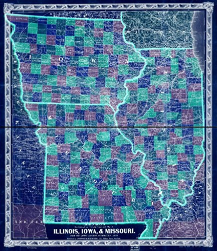Vintography 18 x 24 Blueprint Style Reproduced Old Map 1859Johnson's Railroad Township Copper-Plate map Illinois, Iowa, Missouri, from The Latest Best Authorities Johnson, A. J. (Alvin J