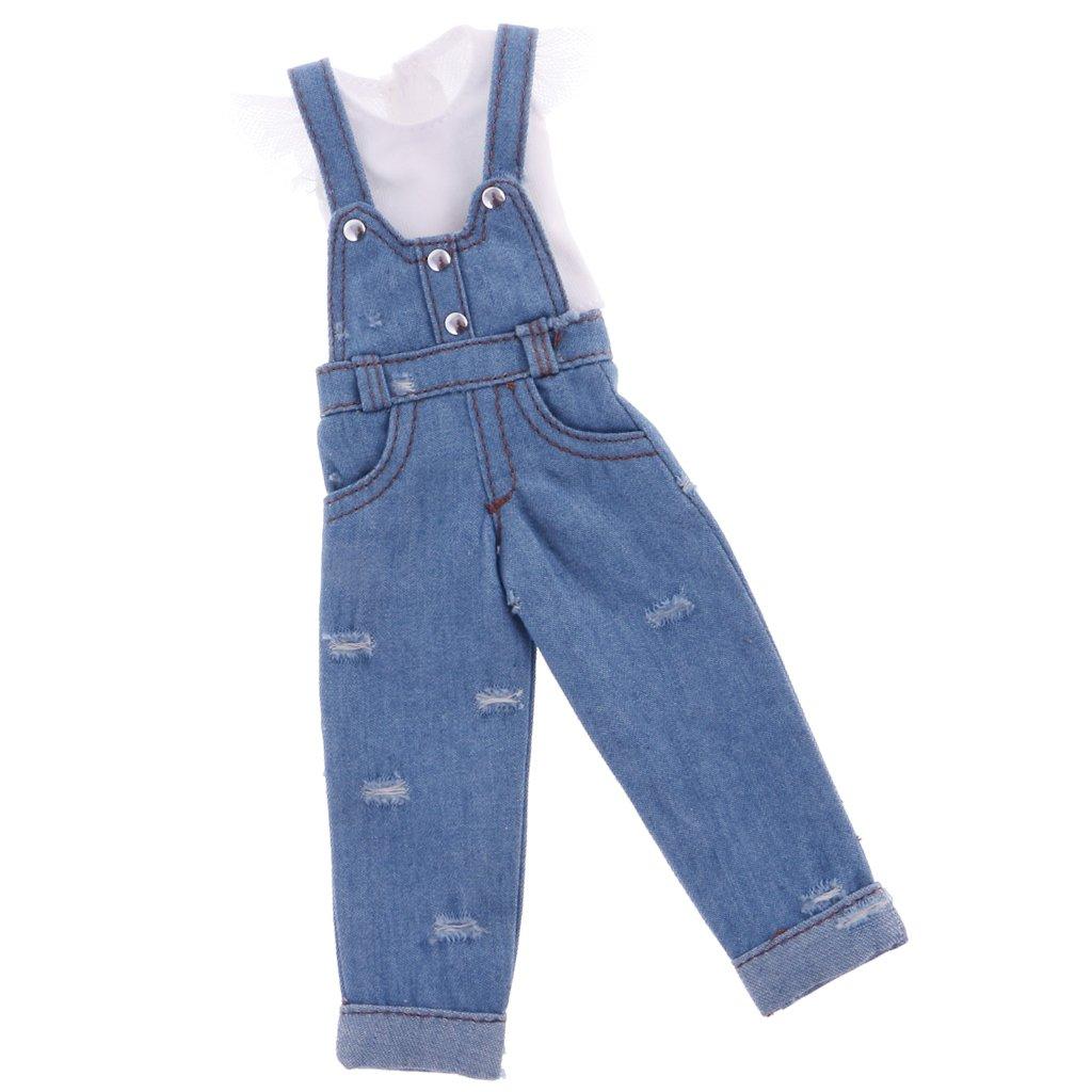MagiDeal Pantalon D/écontract/é En Bretelles D/éguisement T-shirt Tenue Pour 12 pouce Poup/ées Blythe Dolls Bleu Clair