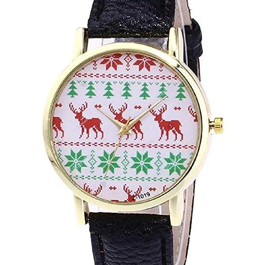 Scpink Mujeres Navidad Elk Relojes de Pulsera analógicos para Mujer Relojes de Cuero Relojes Femeninos Liquidación Venta (Rojo): Amazon.es: Relojes