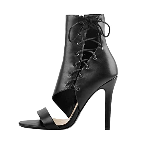 Open Toe Lace Up Cutout High Heel Single Band Shoes for Party Dress