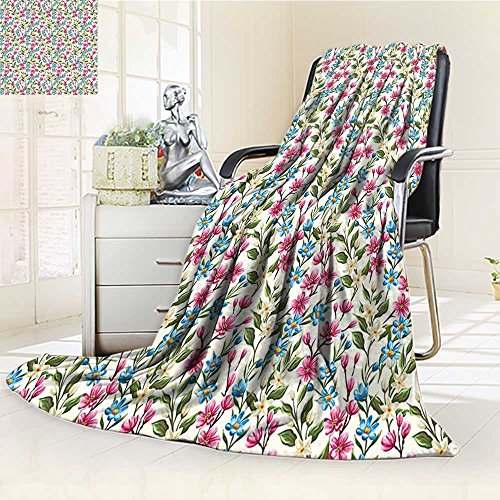 (YOYI-HOME Luxury Collection Ultra Soft Plush Fleece Flower Shabby Chic Floral Buds Leaves Ivy Like Garden Design Art Print Pink and Blue All-Season Throw/Bed Blanket /W31.5 x H47)