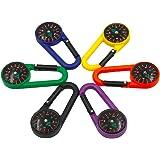 Kunststoff 2-in-1-Karabinerhaken Kompass Clip Outdoor Wandern Camping Schlüsselanhänger Mehrfarbig (6er Pack)