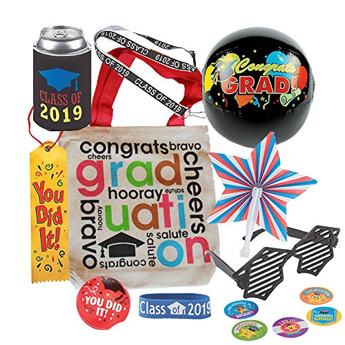 Graduation Goody Canvas Tote Gift Bag w/ Sunglasses, Rubber Bracelet, Small Beach Ball, Lanyard, Can Cozy, Stress Ball, Stickers, Star Shape Fan, Satin Ribbon (Red)