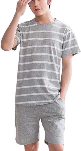 Conjuntos de Pijamas para Hombres Ropa de Dormir Ligera de Manga Corta Pijamas de Loungewear: Amazon.es: Ropa y accesorios