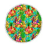 KESS InHouse Shirlei Patricia Muniz Tropical Style Yellow Nature Round Beach Towel Blanket