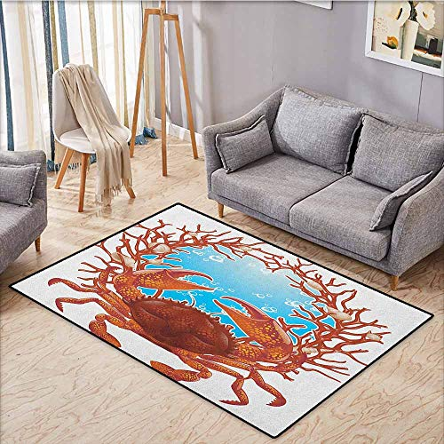 (Pet Rug,Seashells,Crab Spiral Seashells and Red Coral Frame Aquarium Claws Nature,Ideal Gift for Children,5'3