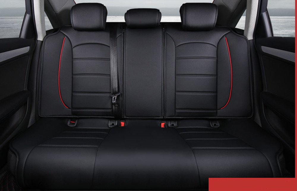 Amooca Luxurious Airbag Compatible Universal Full Set Needlework PU leather Dacron Fabric Front Rear Car Seat Cushion Cover For EcoSport Focus Jetta Tiguan Coffee 6pcs