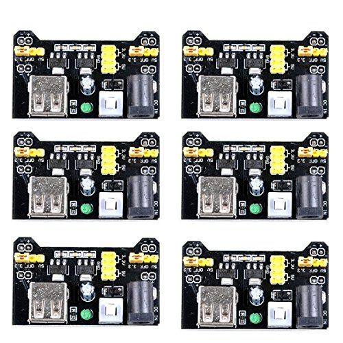 UCEC MB102 3.3V/5V Breadboard Power Supply Module for Arduino Board Solderless Breadboard (Pack of 6)