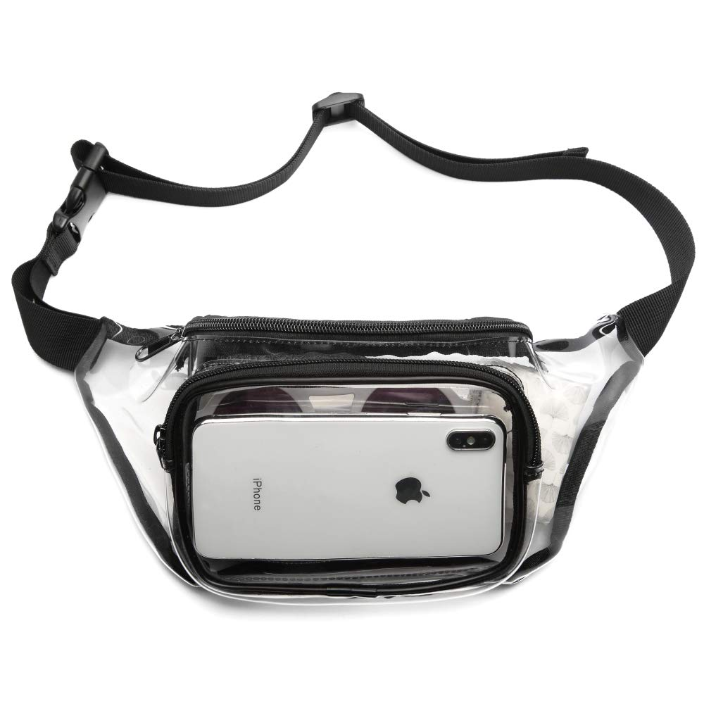 Packism Clear Fanny Pack Stadium Approved, Thicken 0.6mm Transparent Waist Pack for Women and Men Waterproof Bum Bag for Events and Travel