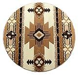 South West Native American Round Area Rug Design C318 Ivory (4 Feet X 4 Feet) Round