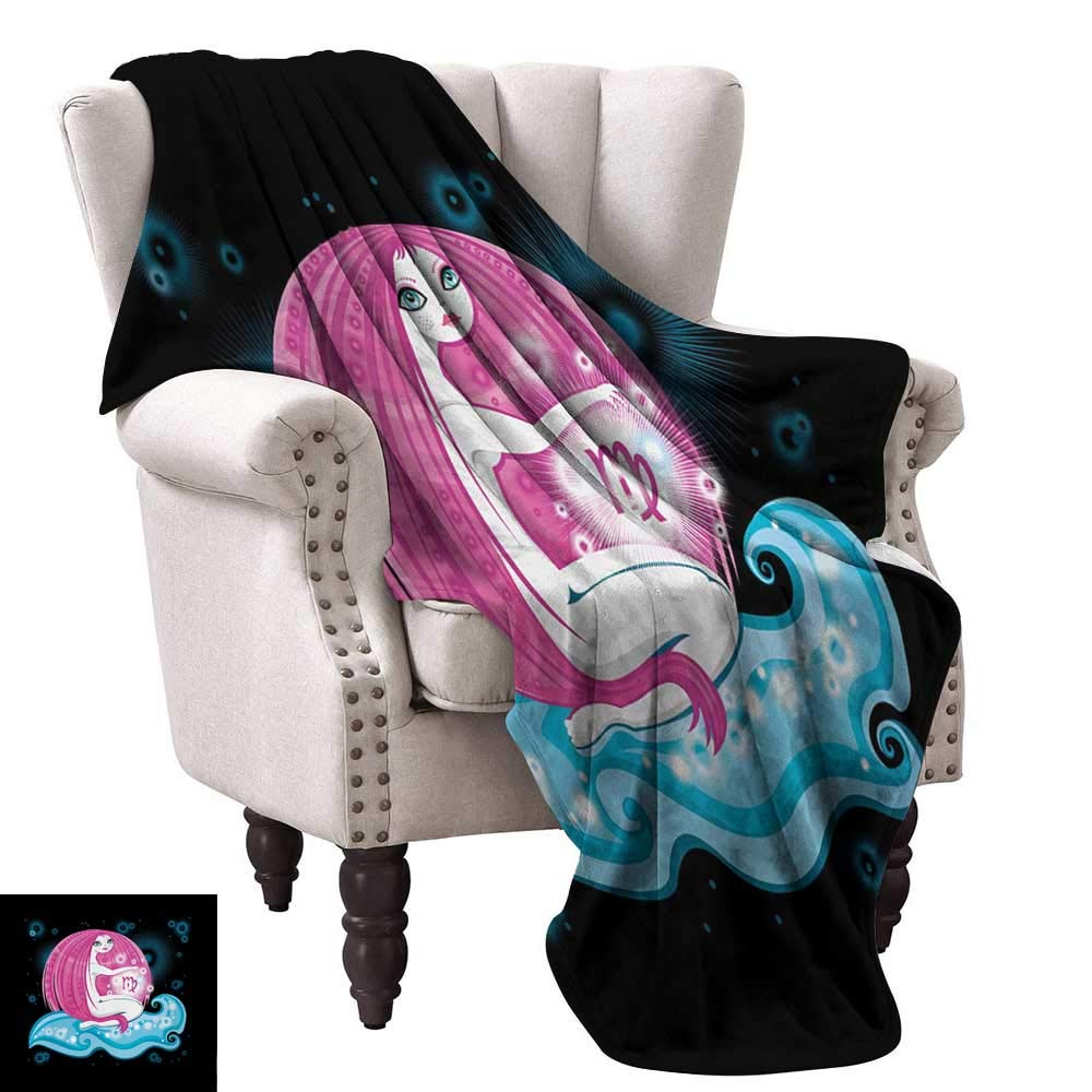 color03 54 Wx72 L WinfreyDecor Virgo Living Room Bedroom Warm Blanket Vibrant color Abstract Image Zodiac Sign Long Haired Girl with Symbol of Virgo Sofa Chair 60  Wx60 L Ruby Brown White