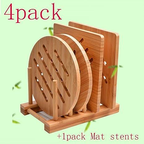 Amazon.com: Garkup. Juego de salvamanteles de bambú natural ...