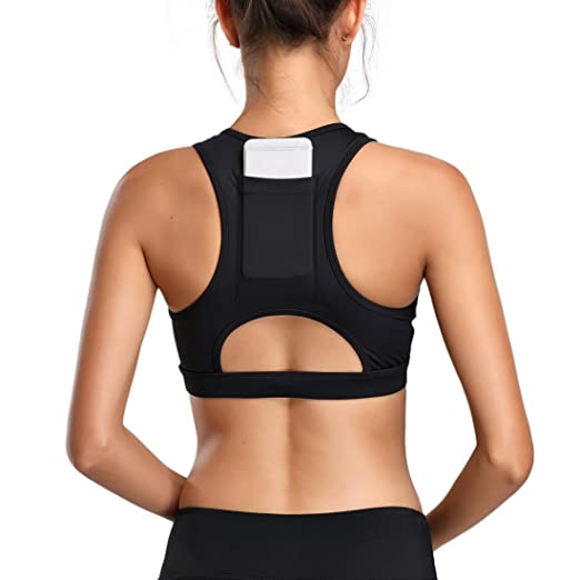 19060e0aecc Dailybella Yoga Sports Bras Racerback Full Support Pocket Workout Activewear  Tops (Large, Black)