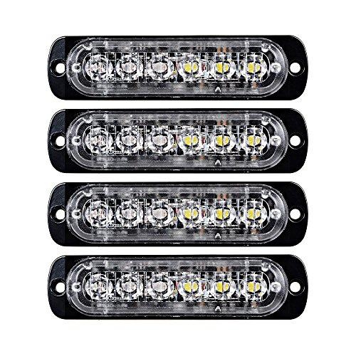 XT AUTO 4pcs Universal 12V-24V Super Bright Amber/White 18W 6-LED Warning Emergency Construction Surface Mount Beacon Flash Caution Strobe Light Bar ()