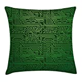 Ambesonne Digital Throw Pillow Cushion Cover by, Computer Art Backdrop with Circuit Board Diagram Hardware Wire Illustration, Decorative Square Accent Pillow Case, 20 X 20 Inches, Emerald Fern Green