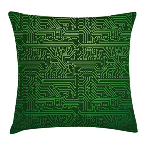 Ambesonne Digital Throw Pillow Cushion Cover by, Computer Art Backdrop with Circuit Board Diagram Hardware Wire Illustration, Decorative Square Accent Pillow Case, 18 X 18 Inches, Emerald Fern Green by Ambesonne