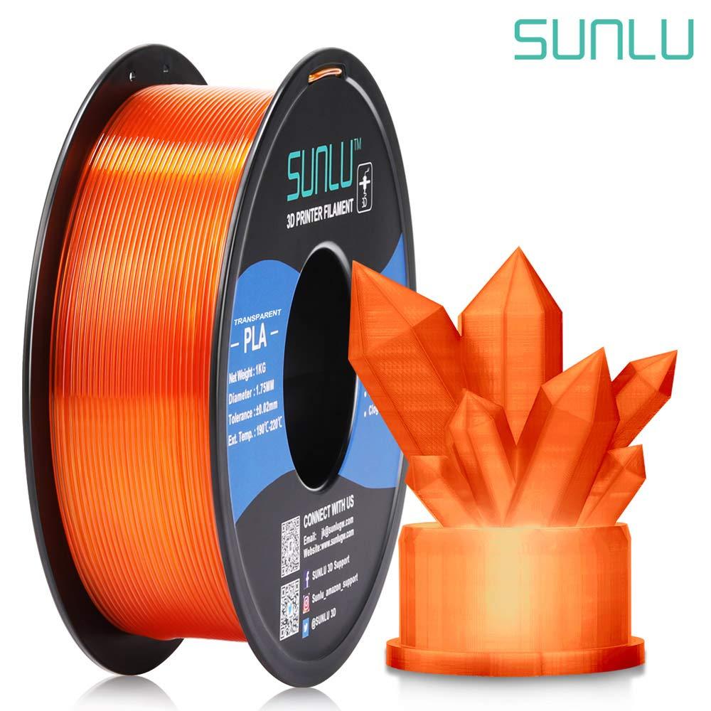 Dimensional Accuracy +//- 0.02 mm for 3D Printer and 3D Pen SUNLU Transparent PLA Filament 1.75 mm 3D Printer Filament 1kg Spool 3D Printing Filament Pure Transparent