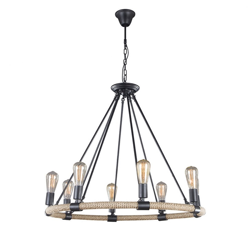 Round Hemp Rope Chandelier, Motent 33'' Industrial Vintage Retro Black Painted Metal Pendant Lamp Antique Minimalist Iron Wrought Mounted Ceiling Lighting Fixture with 8 Lights for Kitchen Parlor Bar