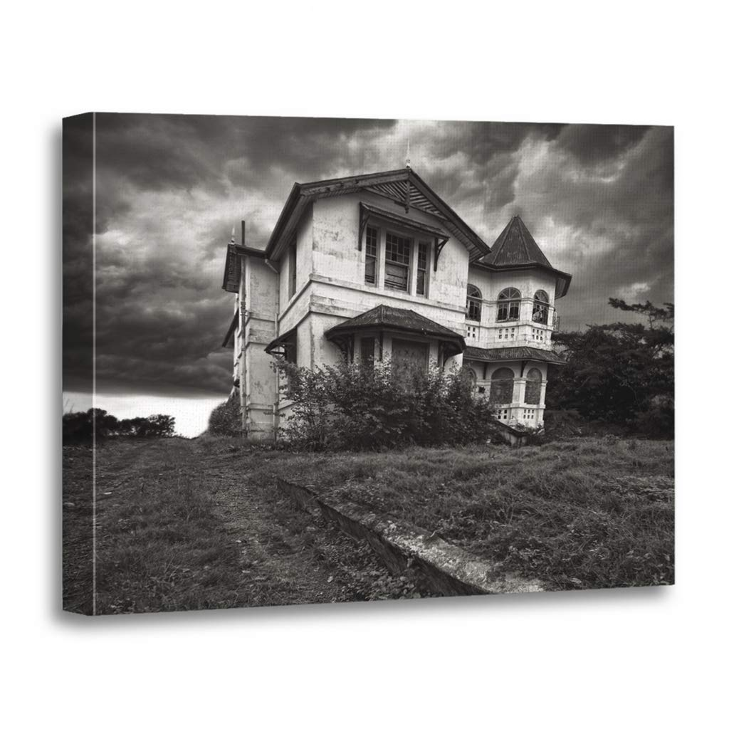 Emvency Painting Canvas Print Wooden Frame Artwork Haunted Derelict Old House on Top of Hill Mansion Storm Decorative 16x20 Inches Wall Art for Home Decor