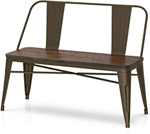 VIPEK 18 Inches Height Metal Dining Bench with Wooden Seat 42
