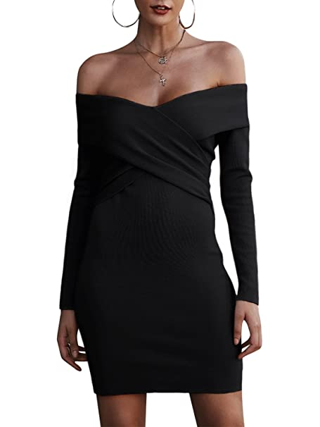 58314ceb3d BerryGo Women's Sexy Off Shoulder Wrap V Neck Long Sleeve Bodycon Sweater  Mini Dress Black,