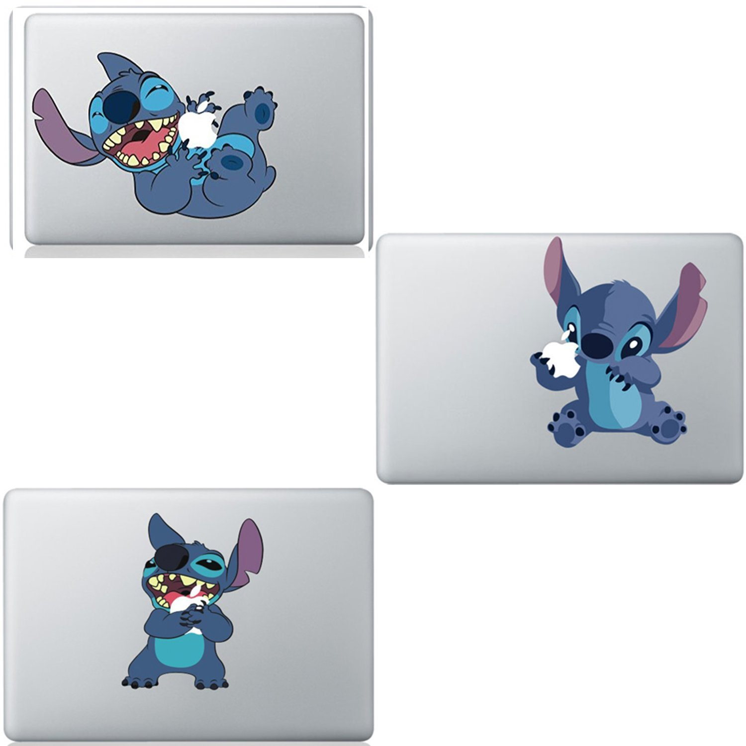 3 Pack Colourful Funny Cute Disney Stitch Sticker Viny Decal for Apple Macbook Air & Pro & Retina 13''