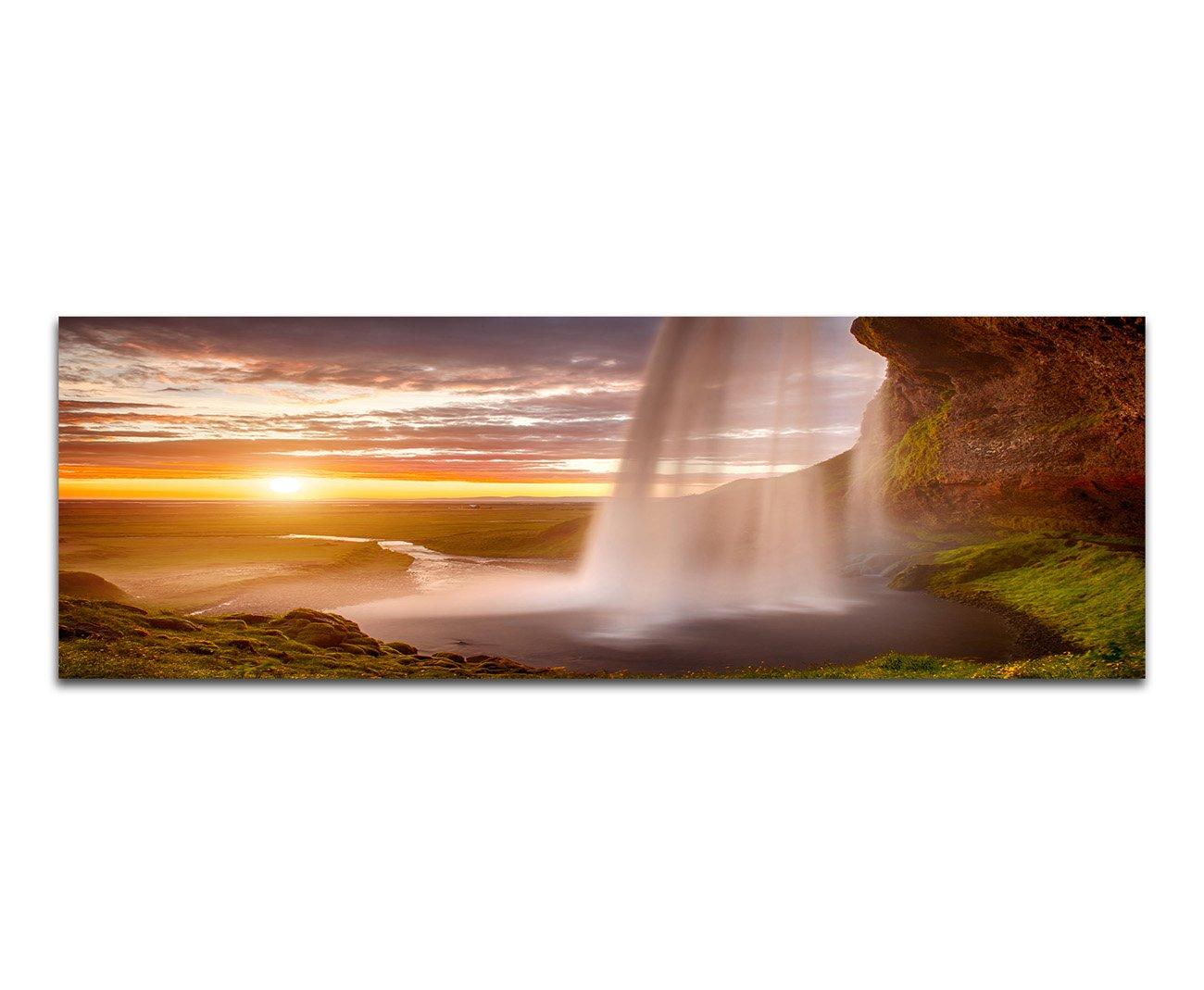 Panoramabild XXL auf Leinwand und Keilrahmen 180x70cm Meer Felsen Wasserfall Sonnenuntergang