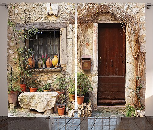 Ambesonne Shutters Decor Collection, Flowerpot plants in Front Yard French Hilltop Village Saint-paul De Vence Heritage, Living Room Bedroom Curtain 2 Panels Set, 108 X 84 Inches, Beige Green - Hilltop Cottage